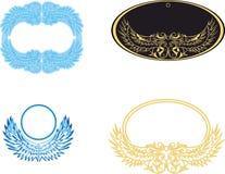 Stiliserad vingvit och guld- ram Inrama för fotoet Tappningram med prydnader den extra illustratören för ramen för Adobeeps-forma Royaltyfria Bilder