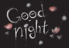 Stiliserad vit bokstäver goodnight på en svart bakgrund Arkivfoto