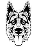Stiliserad zentangle för hund för tysk herde Frihandsvektorillustra arkivbild