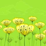 Stiliserade blommor på gräsplan Arkivbild