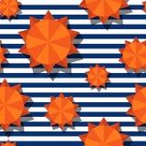 Stiliserade den sömlösa modellen för vektorn med 3d orange sol- och marinband royaltyfri illustrationer