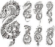 Stiliserade drakar som initial S royaltyfri illustrationer