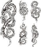 Stiliserade drakefnurentatueringar stock illustrationer