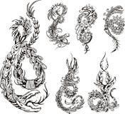 Stiliserade draketattos stock illustrationer
