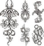 Stiliserade dubbla drakar stock illustrationer