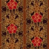 Stiliserade exotiska blommor Traditionaln södra östlig Asien prydnad Populärt i Buddhatempelgarnering Vertikal rytm Arkivfoto