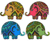 Stiliserade fantasi mönstrade elefanter i indisk stil stock illustrationer