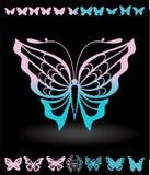 Stiliserade fjärilar och fjärilskonturer objekt för vykort royaltyfri illustrationer