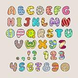 Stiliserade färgrika alfabet och nummer i vektor Arkivfoton