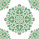 Stiliserade gröna buskar och filialer med röda bär och blommor på en vit bakgrund stock illustrationer