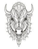 Stiliserade head zentangle för bisonen, vektorn, illustrationen, frihandspe Fotografering för Bildbyråer