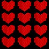 Stiliserade hjärtor som göras av cirklar royaltyfri illustrationer