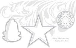 Stiliserade julleksaker greeting lyckligt nytt år för 2007 kort Arkivfoton