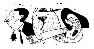 Stiliserade och humoristiska familjstående Svartvita illustrationer för böcker och tidskrifter royaltyfri illustrationer