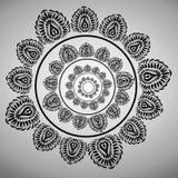 Stiliserade prydnadtexturgrå färger på vit bakgrund Svartcirkelmodell som placeras i en cirkel Royaltyfri Fotografi