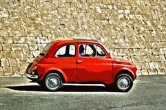 Stiliserade röda Fiat 500, Italien stock illustrationer
