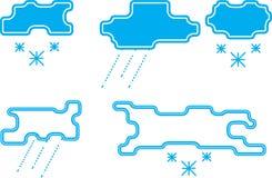 Stiliserade regn- och snömoln Arkivbilder