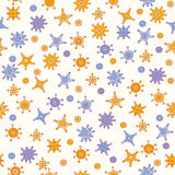 Stiliserade stjärnor på sömlös modell för vit bakgrund Fotografering för Bildbyråer