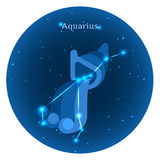 Stiliserade symboler av zodiak undertecknar in natthimlen med ljus stjärnakonstellation framme Royaltyfri Fotografi