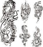 Stiliserade två-hövdade drakar royaltyfri illustrationer