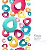 Stiliserade vertikal sömlös vit bakgrund för den lyckliga påsken med 3d flerfärgade easter ägg Royaltyfria Foton