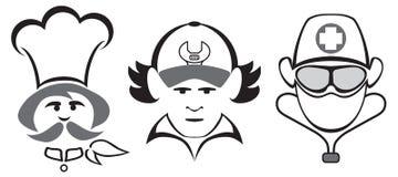 Stiliserade yrkesmässiga huvud vektor illustrationer