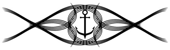 Stiliserat ankare i svart med isolerad garnering vektor illustrationer