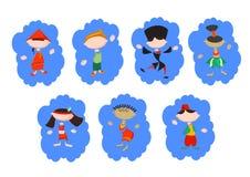 Stiliserat folk i nationella dräkter royaltyfri illustrationer