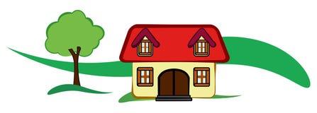 Stiliserat hus med trädet och kullen stock illustrationer