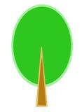 Stiliserat träd med den gröna kronan Arkivbilder