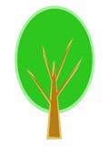 Stiliserat träd med grön lövverk och filialer Royaltyfri Bild