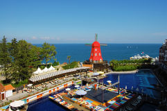 Stiliserat turkiskt hotell arkivbild