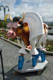 Stilish elvis cow garden sculpture. On wheel platofrm Royalty Free Stock Photo