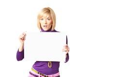 Stilish girl. Holding a blank sign Royalty Free Stock Photos