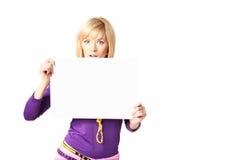 Stilish girl. Holding a blank sign Stock Photos