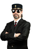 Stilish man. In gendarme stile hat and in sunglasses Royalty Free Stock Images