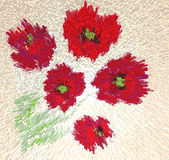 Stilish mosaic picture with abstract poppies Royalty Free Stock Image