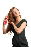 Stilish woman. Young model with styling mousse. Making a hairdo Royalty Free Stock Image