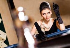 Stilish woman casino bar drink Royalty Free Stock Image