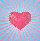 Stilisieren Sie rosa Herz auf Blaulichtglanz BG Lizenzfreie Stockbilder