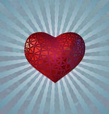 Stilisieren Sie rotes Herz auf Blaulichtglanz BG Stockfotografie