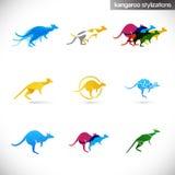 Stilisiert Abbildungen des Kängurus Stockfoto