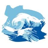 Stilisiert aufgetragenes Ozeanwellenspritzen Stockfoto