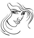 Stilisiert Gesicht der Frauen Stockbilder