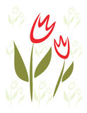 Stilisiert getrenntes Symbol der Tulpe, Kindart. Stockfotos