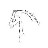 Stilisiert Hand gezeichnetes friesisches Pferd Stockbild