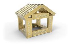 Stilisiert Haus gebildet von den Elementen der Kalkulationstabelle 3d Lizenzfreies Stockfoto