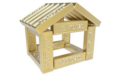 Stilisiert Haus gebildet von den Elementen der Kalkulationstabelle 3d Stockfoto