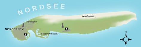 Stilisiert Karte der deutschen Insel von Norderney stock abbildung