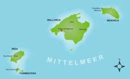 Stilisiert Karte des Balearics lizenzfreie abbildung